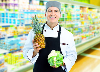 Chef in supermarket.