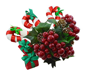 Christmas berries with canes and gifts