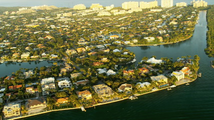 Aerial coastal view residential properties nr Miami