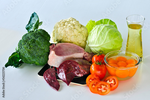 Group of foods with Vitamin K isolated on white