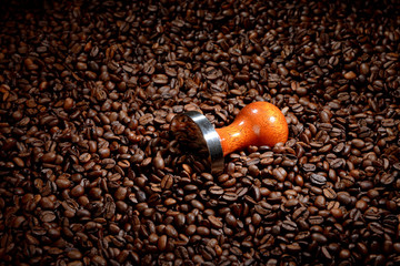 Coffee beans with tamper. Coffee business concept