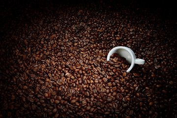 Coffee beans with white cup. Coffee business concept