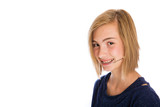 Happy girl wearing dental headgear