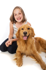 Child with her dog