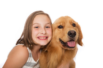 Young child with her dog