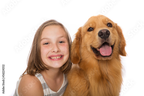 Cute kid with her dog
