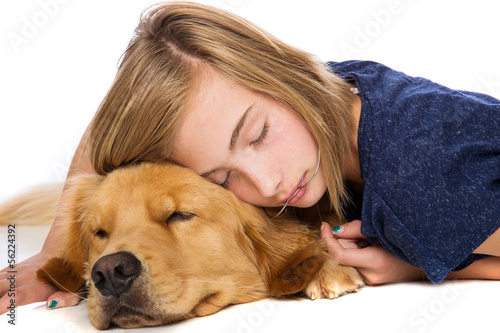 A girl and her dog sound asleep
