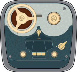 The old reel to reel audio tape recording