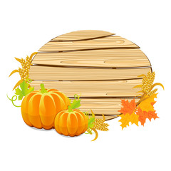 Happy Thanksgiving wooden sign with the harvest