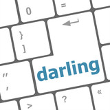 darling button on computer pc keyboard key poster