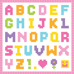 Pixel alphabet in pretty colors