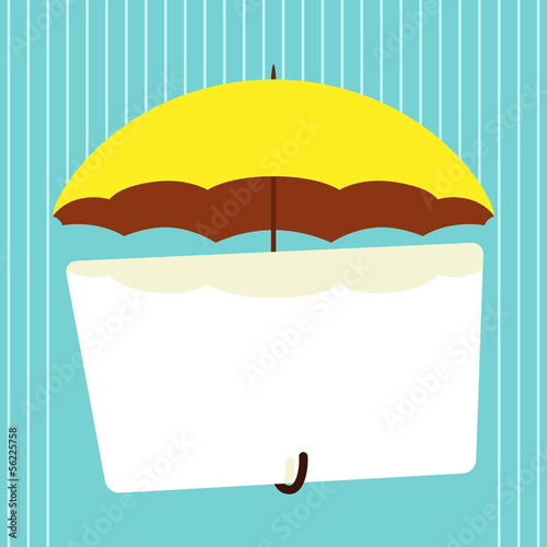 Parasol with banner. Vector illustration.