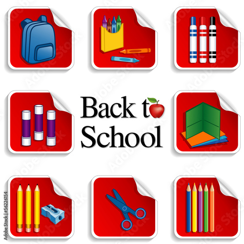 Back to School Stickers, apple, daycare, preschool