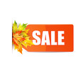 Autumn seasonal sale.red price tag with the word Sale decorated