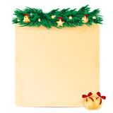 sheet of paper decorated with fir branch and christmas toys.chri