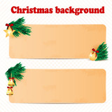 two sheets of paper decorated with fir branches and christmas to