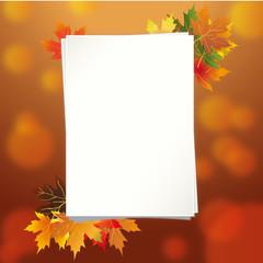 лист бумаги с осенним фоном