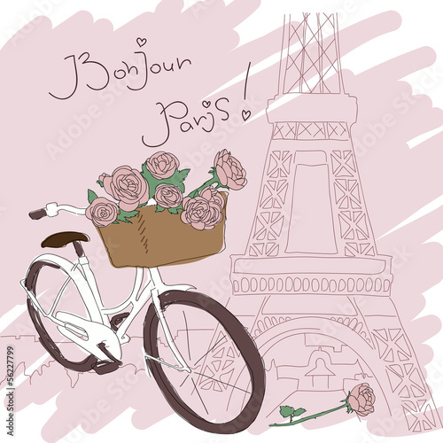 Beautiful card with pretty bicycle and yellow roses on Paris fon