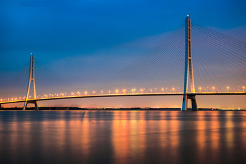 cable stayed bridge at night