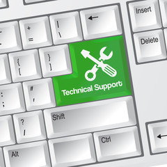 Technical support keyboard button with tools icon