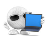 Golfball with his laptop
