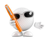 Golfball writing with a pen