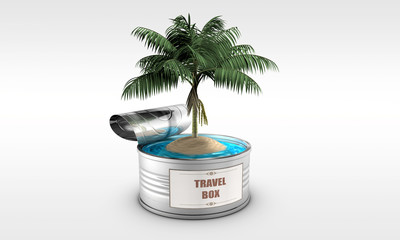 tin with an island and a palm tree
