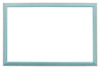 narrow blue wood carved picture frame