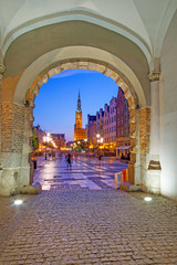 View from the Green gate to city hall in Gdansk at night, Poland