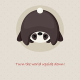 Cute card design with upside down panda