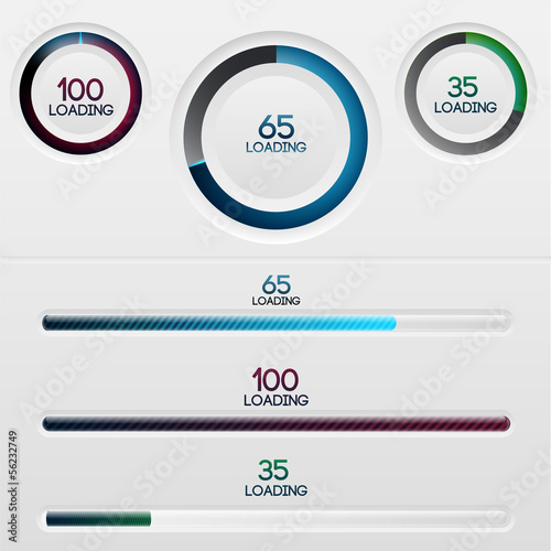 Vector set of loading bars