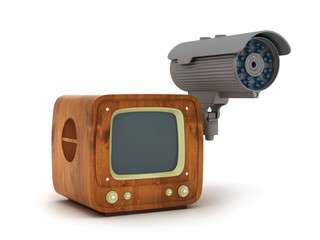 Modern security cam and retro tv isolated on white