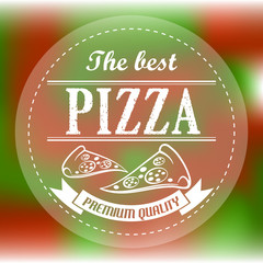 red and green abstract pizza label