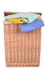 clothes basket with towels