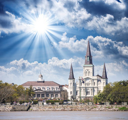 Sunset over New Orleans. Beautiful view of St Louis Cathedral