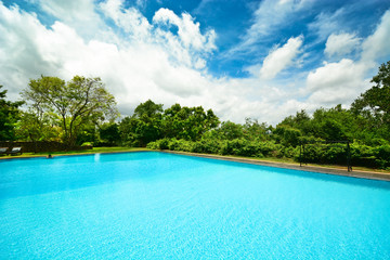 Infinity swimming pool in beautiful landscape