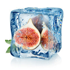 Sliced figs in ice cube