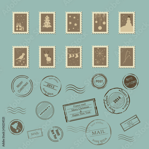 Vector collection of vintage post stamps. Perfect for Christmas