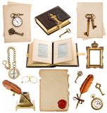 antique clock, key, photo album, feather pen, inkwell, compass