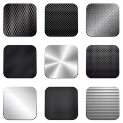 Apps metal-carbon icon set