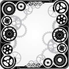 Mechanical cog wheel frame.