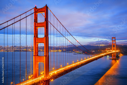 view of famous Golden Gate Bridge by night - 56235546