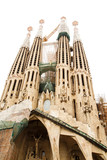 Towers of Sagrada Familia on White