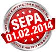 """Button Banner """"SEPA"""" Datum rot/silber"""