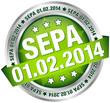"""Button Banner """"SEPA"""" Datum grün/silber"""
