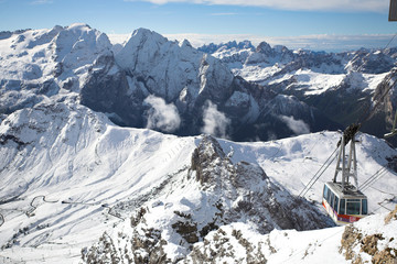 Italian Dolomites - cable car, Sella