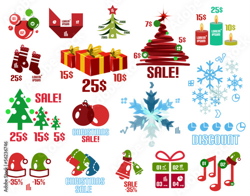 Christmas infographic templates and elements set