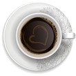 A cup of black coffee on a saucer