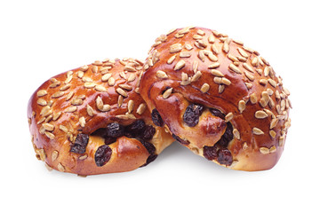 Buns with raisins and sunflower seeds