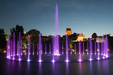 The illuminated fountain at night